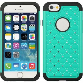 Apple iPhone 6s Plus Case / 6 Plus Case Crystal Rhinestone Slim Hybrid Dual Layer Case - Teal/Black