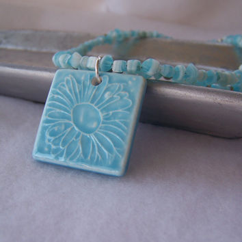 Aqua Blue and Silver Double-Strand Beaded Necklace with Ceramic Flower Pendant - Handmade Jewelry - Spring Jewelry - OOAK