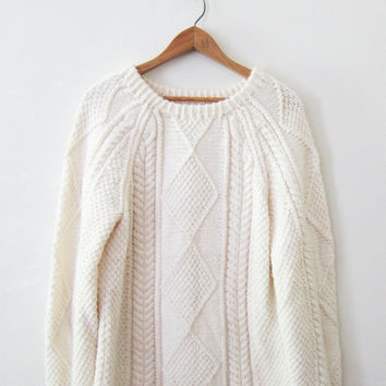 SALE 20% OFF--- Vintage Fisherman Sweater | Cable Knit | Cream Knit Sweater