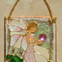 Artisan Made Ivory Fairy Art Stained Glass Fairy Decor Suncatcher Stained Glass Panel Wall Hanging Art Glass Ornament Gift for Girls