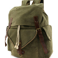 Quality Canvas Backpack Travel Rucksack Vintage with Leather Straps in Black | Brown | Military Green