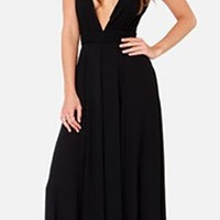 Black Sleeveless Plunge V Neck Sheer Mesh Back Maxi Dress