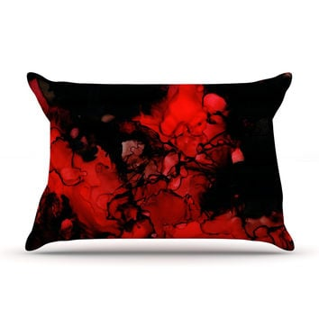 "Claire Day ""Vesuvius"" Red Dark Pillow Case"