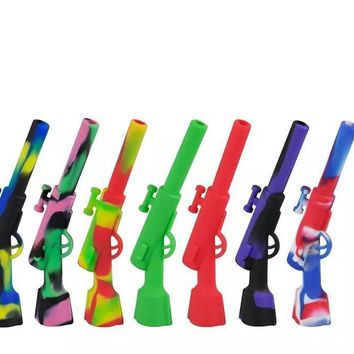 One Hitter Army fatigue Silicone Gun Shape Rifle Pipe