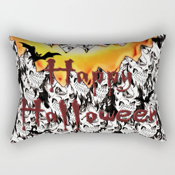 Happy Halloween, Jack-o'-lantern face, scary smile, spooky skulls pattern, horror design Rectangular Pillow by Casemiro Arts - Peter Reiss