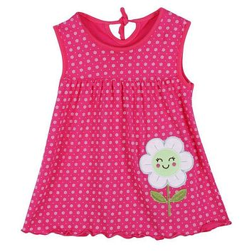 Summer Random Color Baby leeveless Printed A-Line Dress One Piece Mini Dress Cute Infant Baby Girls Dress For 1-2Y Kid