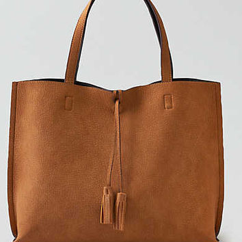 Street Level Tassel Reversible Tote , Tan