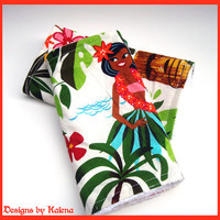 Hawaiian Burp Cloth Set - Hula Girl - Leis n Luaus - Set of 2 - Surfer Baby