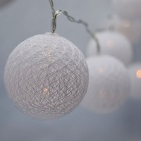 MoonBright 10 LED White Round Texture Cotton Ball String Light, 5.5 FT, Battery Operated by PaperLanternStore - Walmart.com