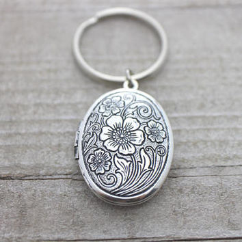 Antique locket flower photo silver key ring