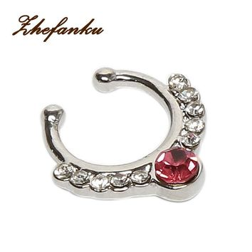 Charming Body Piercing Jewelry Fake Nose Ring Crystal Septum Piercing Hanger Nose Hoop Body-0298