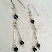Vintage Sterling Silver 925 Black Onyx Bead Dangle Earrings - Boho Chic  Art Deco Nouveau / Stylish / Gift / Casual