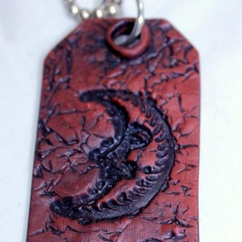 Man In The Moon Luggage Purse Or Backpack Tag Polymer Clay Antiqued