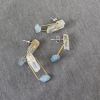 Winter Drop White Quartz Earrings