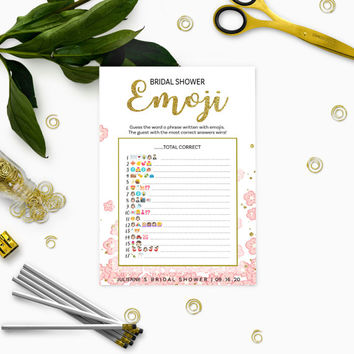 Pink and Gold Bridal Shower Emoji Game-Glitter Modern Floral Printable Personalized Fun Pictionary Bridal Shower Game-Bridal Shower Games