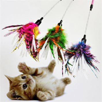 Three Colors Pet Feather Toy Paper Stipe Spiral Feather Stick Cat Teaser Cat Sticks Funny Cat Pet Toy
