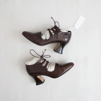 leather corset booties | size 6 heels | size 5.5 booties