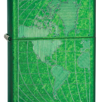 Zippo 28340 Iced World Classic Lighter Meadow Green Made in USA