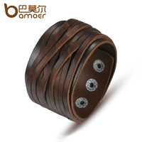 BAMOER Black & Brown Genuine Leather Bracelet With Alloy Buckle Adjustable Fashion Women & Men Bracelets Jewelry PI0337-1
