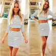 Stripe Crop Top and Skirt Two Piece Set
