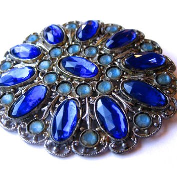 Vintage Antique 30s Art Deco Jeweled Blue Glass Large Brooch Pin