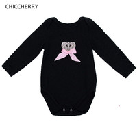 Shining Rhinestone Crown Black Body Baby Girl Bodysuits Long Sleeve Jumpsuit Macacao Bebe Overalls For Children Infant Clothing
