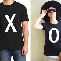 XO Graphic Print Cute Matching His and Hers Couple Lightweight Cotton T-shirt 1 pair FREE SHIPPING (Gift for Couple)