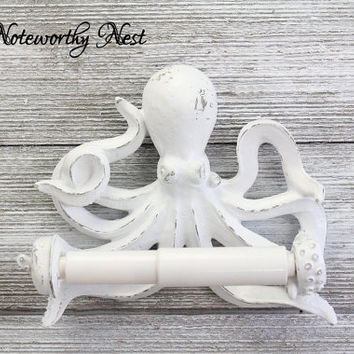 CUSTOM COLORS Octopus Toilet Paper Holder // bathroom decor // nautical decor // nautical bathroom / sea theme bathroom / white Octopus