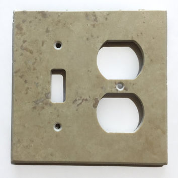 Light Walnut Travertine Toggle Duplex Switch Wall Plate / Switch Plate / Cover - Honed