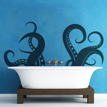 "Stickerbrand© Animals Vinyl Wall Art Giant Octopus Tentacles Wall Decal Sticker - Black, 27"" x 60"". Easy to Apply & Removable. Includes FREE Application Squeegee"