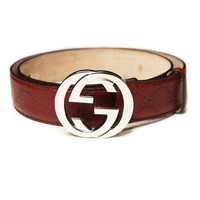Dark Red/ Silver Gucci Belt
