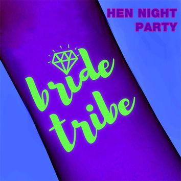 1Pc Bride Tribe Luminescence Temporary Tattoo Stickers DIY Party Bridesmaid Wedding Halloween Party Supplies Photo Props Decor Q
