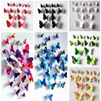 12x Hot 3D Artificial Wall Sticker Butterfly Wedding Home Room Decor Magnet Stickers