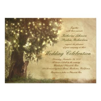 String lights old tree rustic wedding invitation