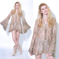 VTG 70s Crochet Lace Earthy Hippie Boho Gypsy Festival Angel Bell Slv Mini Dress