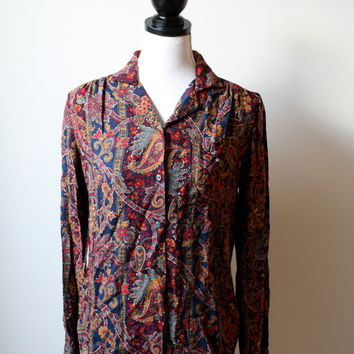 Black Friday Cyber Monday 1980s Paisley Blouse - Button down Top - Womens US M