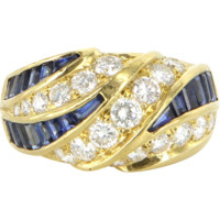 Kurt Wayne Diamond Sapphire Band Ring Vintage 18 Karat Gold Designer Estate Jewelry