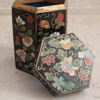 Cloisonne Trinket Box Jewelry Storage Hexagonal Floral Vintage