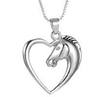 Fashion New Hollow Out Plated White K Animal Horse in Heart Necklace Pendant Necklace for Women Girls Christmas Birthday Gift