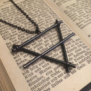 The Alchemy Earth Symbol Necklace / Blackened Earth Sign Pendant / Elements Collection / Earth Element Symbol Necklace  / Witchy Pendant / Goth