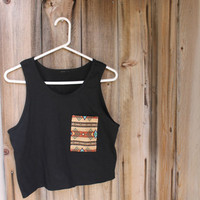Her Cut Off Native Print Pocket Tank (Black)
