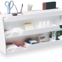 "TrippNT 50124 White PVC Plastic Bench Top Personal Workstation, 17 Compartments, Large, 24"" Width x 12"" Height x 7.5"" Depth"
