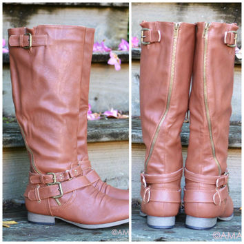 Buckle Down Cognac Tall Riding Boots