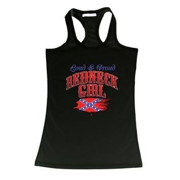 Confederate Rebel Flag Loud & Proud Redneck Girl