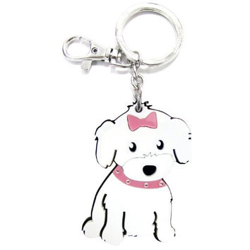 Love Your Breed Acrylic Keychain, Girl Maltese