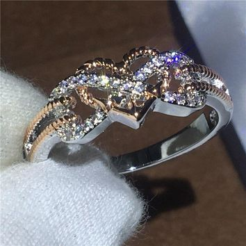 Couple Heart Love ring White Rose Gold Filled Anniversary wedding band rings for women men AAAAA zircon crystal Bijoux