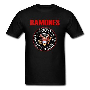 Ramones T-Shirt Men Logo T Shirt Punk Creator Tshirt Summer Cotton Tops Black Red Tees Hip Hop Band Clothing Plus Size
