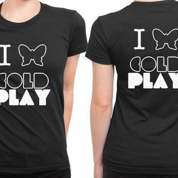 CREYH9S Coldplay I Love Coldplay 2 Sided Womens T Shirt