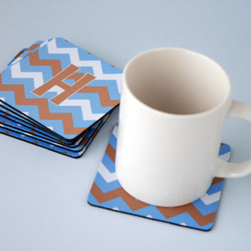Custom Coasters Set Blue Tan Chevron Fabric Geometric Monogrammed Coasters for Drinks Personalized Wedding Drink Coasters for Him