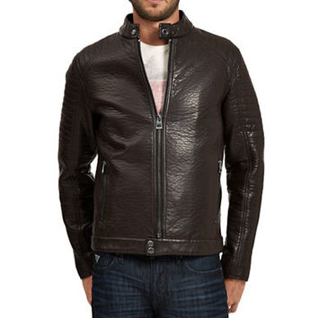 Guess Faux Leather Topstitch Moto Jacket